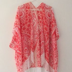 Sheer Pink Patterned Swim Cover Up/Kimono